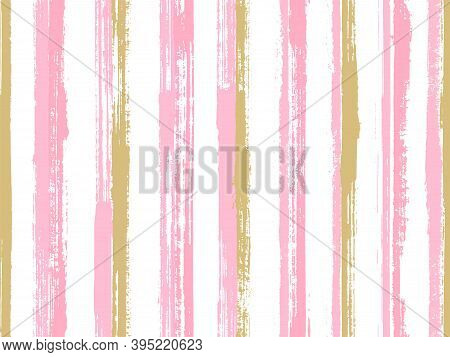 Pain Handdrawn Irregular Stripes Vector Seamless Pattern. Minimal Decorative Wallpaper Design. Old S