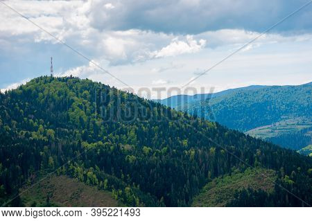 Rolling Hills Of Mountain Landscape. Cloudy Day In Carpathian Mountains. Ridge In The Distance. Beau
