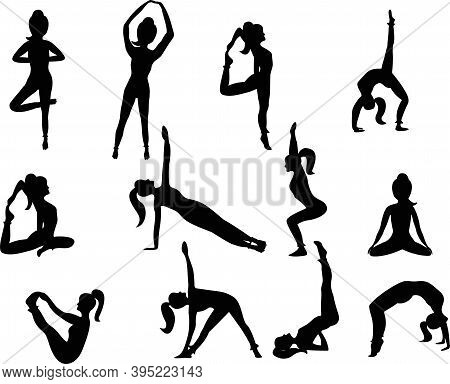 Set Of Yoga Positions. Silhouettes Of A Woman In Yoga Positions