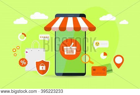 Online Shopping In Web Store Or Internet Webshop With Smartphone. Mobile Marketing, E-marketing Conc