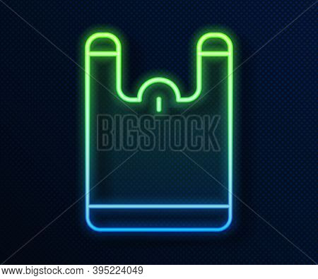Glowing Neon Line Plastic Bag Icon Isolated On Blue Background. Disposable Cellophane And Polythene