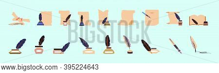 Feather Quill Pen With Inkpot, Classic Stationery. Cartoon Icon Design Template With Various Models.