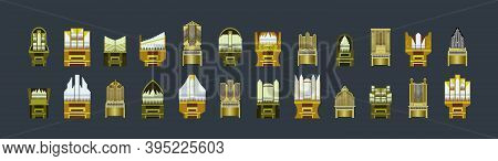 Set Of Vintage Pipe Organ Cartoon Icon Design Template With Various Models. Modern Vector Illustrati