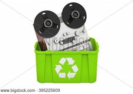 Recycling Trashcan With Reel-to-reel Tape Recorder, 3d Rendering Isolated On White Background