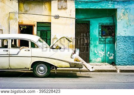 July 15, 2019 - Havana Cuba. Old Retro Car In Havana With Tipical Buidings, Particular Situation