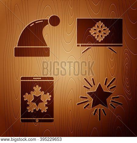 Set Christmas Star, Christmas Santa Claus Hat, Christmas On Smartphone And Snowflake And Merry Chris