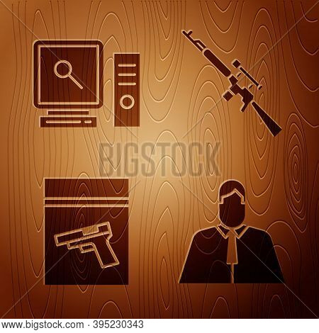 Set Lawyer, Attorney, Jurist, Search On Computer Screen, Evidence Bag And Pistol Or Gun And Sniper R