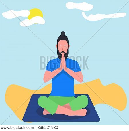 A Hipster Man Practicing Meditation Yoga On Nature Background. Man Doing Yoga Sitting On The Beach I