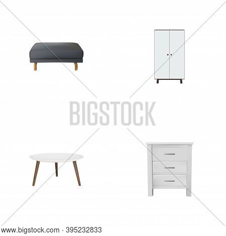Set Of Furniture Realistic Symbols With Pouf, Round Table, Closet And Other Icons For Your Web Mobil