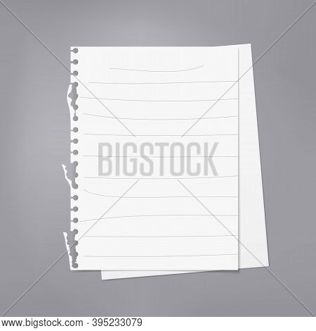 White Stacked Lined And Blank Note, Notebook Paper Are On Dark Gray Background For Text, Advertising