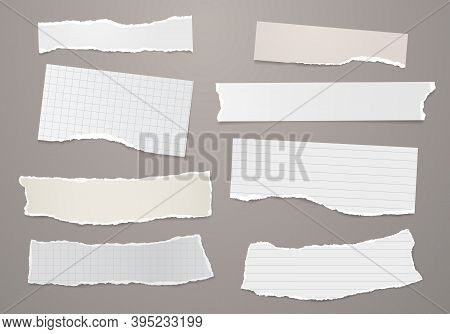 Set Of Torn White, Brown Note, Notebook Paper Pieces Stuck On Dark Gray Background. Vector Illustrat