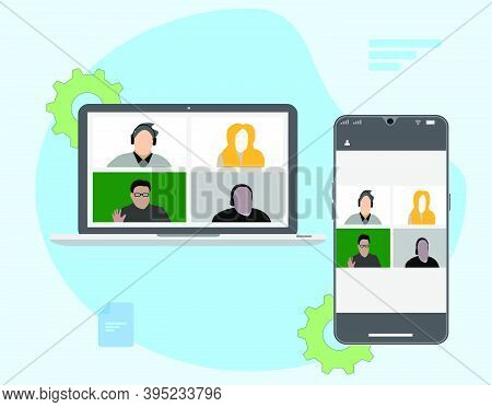 People Connecting, Learning Or Meeting Online With Teleconference, Video Conference Remote Working O