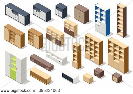 Isometric Set Of Different Stylish Commodes And Modern Wardrobes Isolated On White. Furniture For Wa