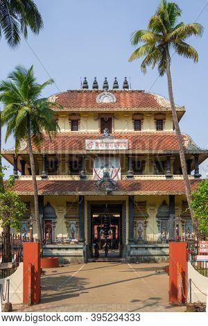Cochin, India - February 1, 2020: Thirumala Devaswom Temple in Fort Kochi in Kerala, India