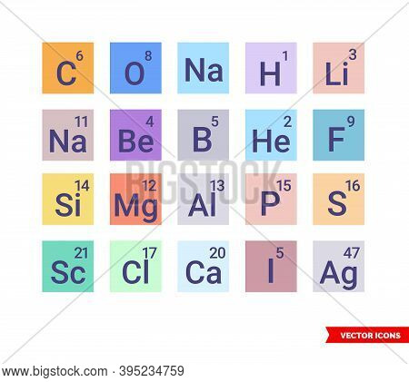 Chemical Elements Icons Set Of Color Type. Isolated Vector Sign Symbol.