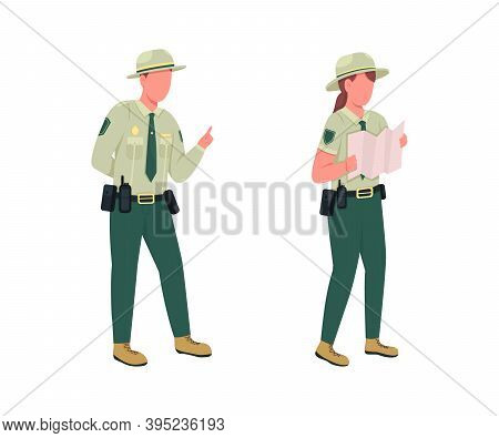 Environmental Police Male Officer Flat Color Vector Faceless Character Set. Forest Protection. Law E