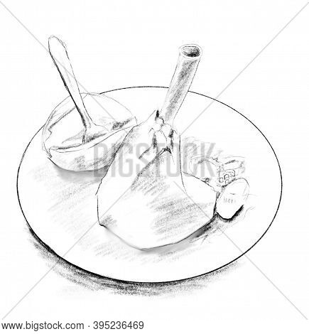 Traditional Cyprus Meal Roast Lamb With Potatoes And Carrots. Black And White Hand Drawn Isolated Il