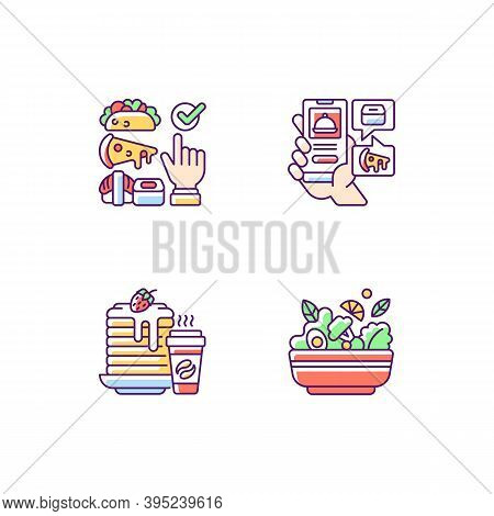 Delivering Groceries, Pre-prep, Pre-made Meals Rgb Color Icons Set. Choosing Cuisine. Food Delivery