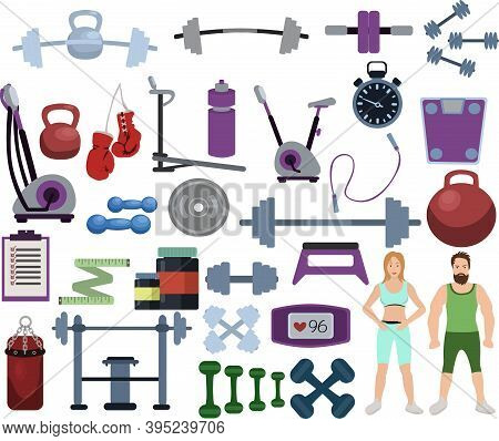 Set Of Gym Equipment And Training Body Gym Sport Equipment. Fitness Sport Gym