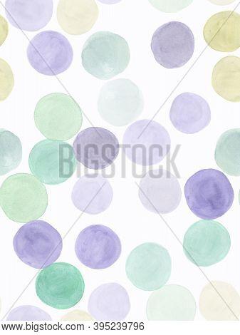 Seamless Polka Dots Pattern. Random Stains Splash. Pastel Happy Illustration. Simple Paint Print. Ch