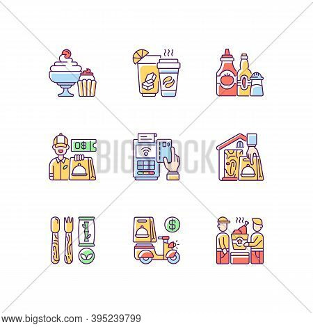 Delivery And Takeout Rgb Color Icons Set. Drinks And Beverages. Condiments And Sauces. Desserts. Rea