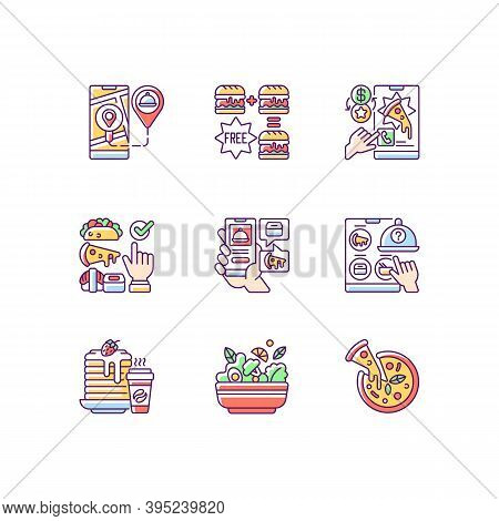Food Delivery Service Rgb Color Icons Set. Real-time Order Tracking. Special Offers. Choosing Cuisin
