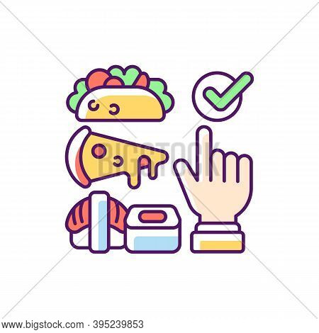 Choosing Cuisine Rgb Color Icon. Fast-food Options. Burritos, Tacos. Asian Cuisine. Sushi And Ramen.