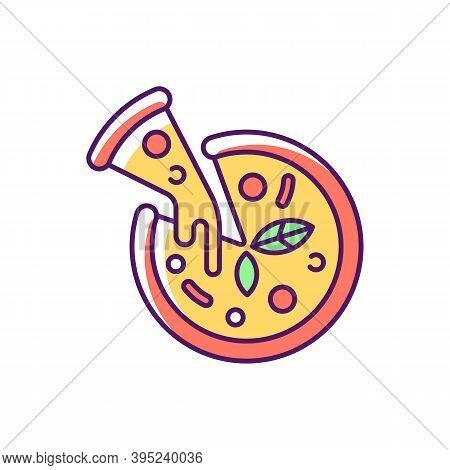 Pizza Rgb Color Icon. Prepared Food. Italian Origin Dish. Junk Foods. Dough, Tomato Sauce And Mozzar