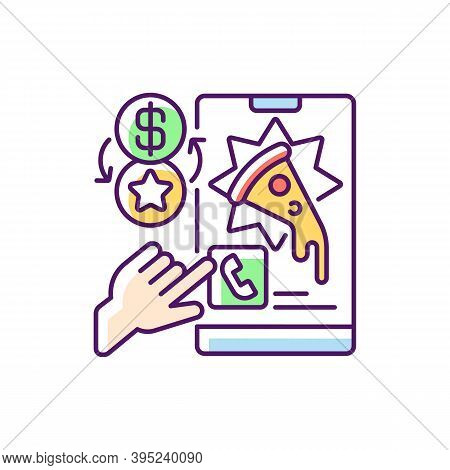 Rewards Program Rgb Color Icon. Earning Reward Points From Restaurants. Collecting Stamps On Paper L