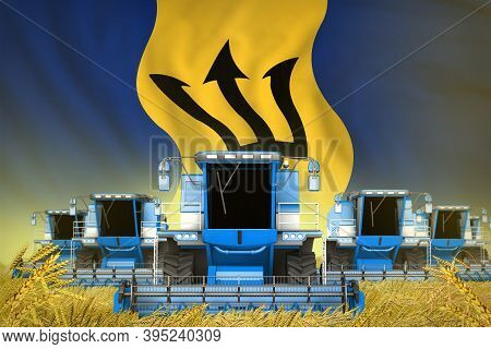 Industrial 3d Illustration Of Many Blue Farming Combine Harvesters On Rural Field With Barbados Flag