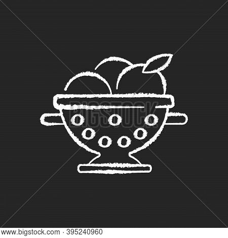 Colander Chalk White Icon On Black Background. Strainer To Rinse Fruits. Wash Fruits In Pot With Hol