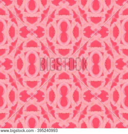 Seamless Predator Pattern. Red, Living Coral Color. Trendy Exotic Illustration. Python Leather Wild