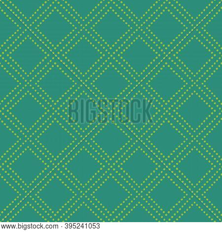 Christmas Green On Green Seamless Diamond Pattern. Bright Green Dot Lines, Rhombuses, Grid Pattern O