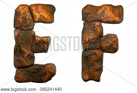 Set of rocky letters E, F. Font of stone on white background. 3d rendering