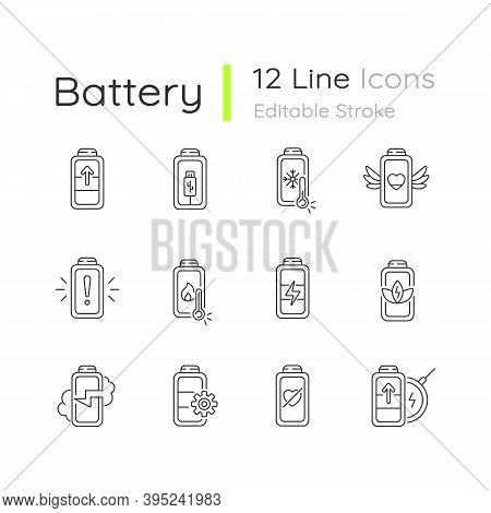 Battery Status Linear Icons Set. Innovational Charging Process. Using Cables For Getting Electricity