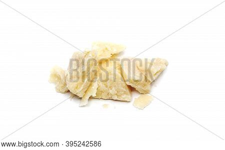 Parmesan Slices Isolated On White Background. Italian Traditional Cheese.