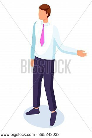 Businessman Portrait, Executive Man Wearing Shirt And Tie, Pants, Confident Guy Gesturing Hand, Cart