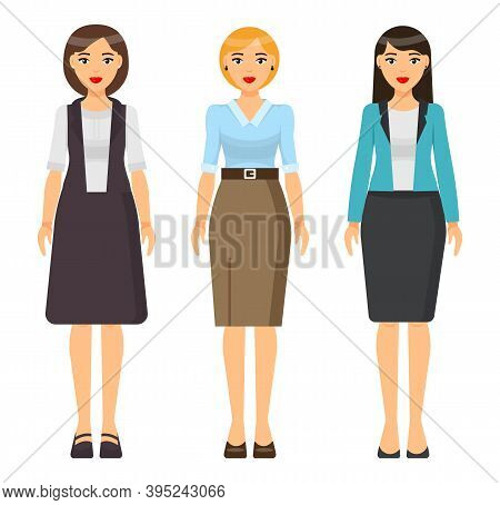 Set Of Vector Chartoon Characters. Dresscode Of Businesswoman. Woman Wearing Different Clothes Turqu
