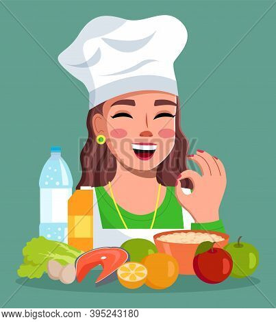 Cook Woman Showing Okay Gesture, Smiling Female And Delicious Food, Cheerful Girl Wearing Hat With C