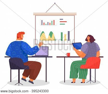 Teamwork Process, Office Workers Sitting At Table And Working At Project, Plan, Colleagues Looking A