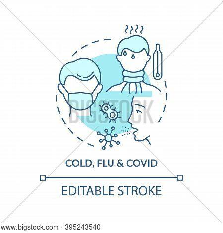 Cold, Flu And Covid Concept Icon. Contagious Respiratory Illness Idea Thin Line Illustration. Fever,