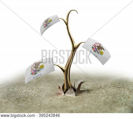 3d Illustration. 3d Sprout With Illinois Flag On White