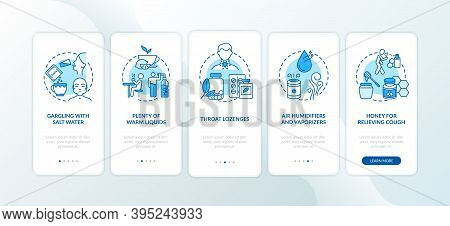 Pharyngitis Treatment Onboarding Mobile App Page Screen With Concepts. Home Medicine, Air Humidifier