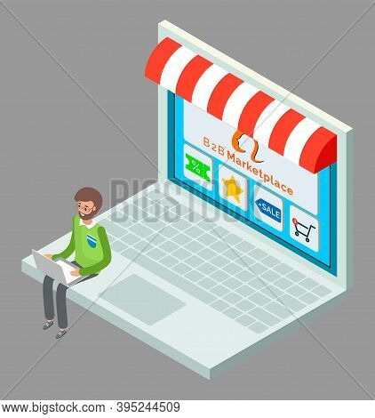 Online Shop, Isometric 3d Laptop. Customer Man Choosing Products At Website. Coupon With Discount, S