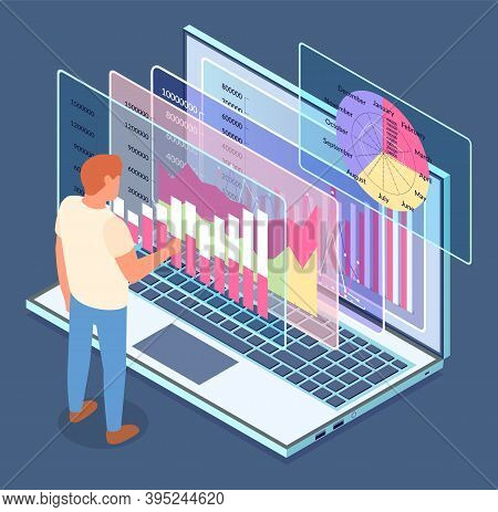 Website At Laptop. Business Statistics. Vector Visual Presentation. Growing Graphics, Charts, Round