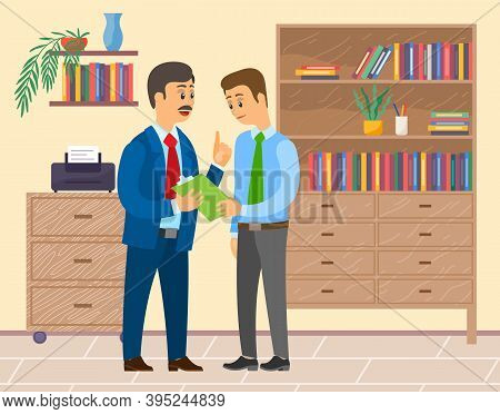 Conversation Of Boss And Office Worker Young Guy, Businessmen Talking, Discussing Work Moments, Man