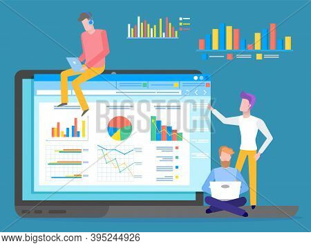 Programmers, Coders Or Businessmen Analysing Data, Chart, Graphics, Infographics At Website. Man Wea