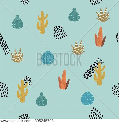Seamless Cactus Pattern And Hand Drawn Textures. Vector Texture Fabric, Textile. Vector Cactus Backg