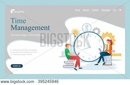 Time Management Business Website Landing Page, Organizing Office Time, Working Office Workers Busine