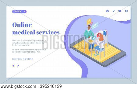 Landing Page Of Medical Website. Online Medical Services. Online Consultation Doctor With Patient Th